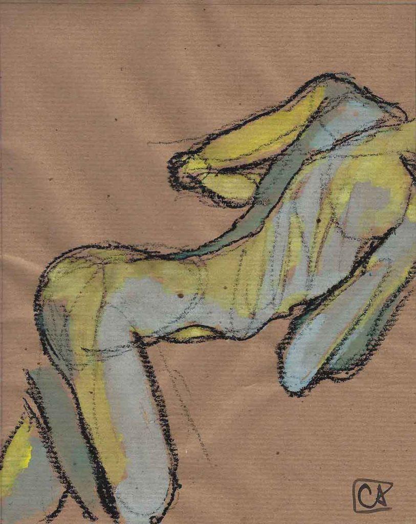 Nudo di schiena - gouache su carta 2017