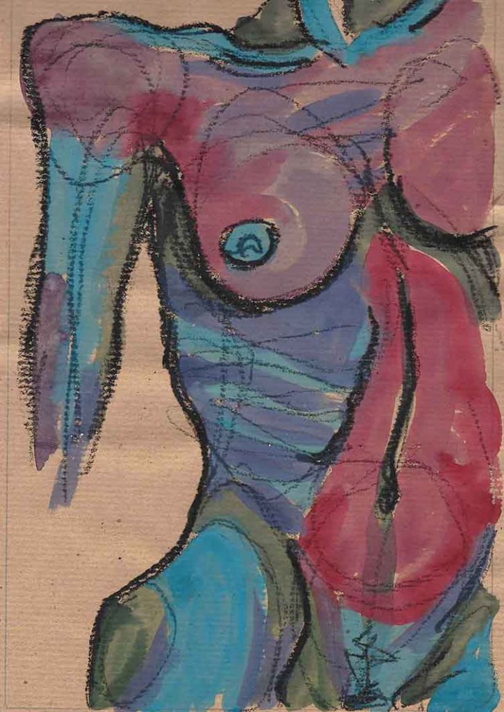 Nudo frontale - gouache su carta 2017