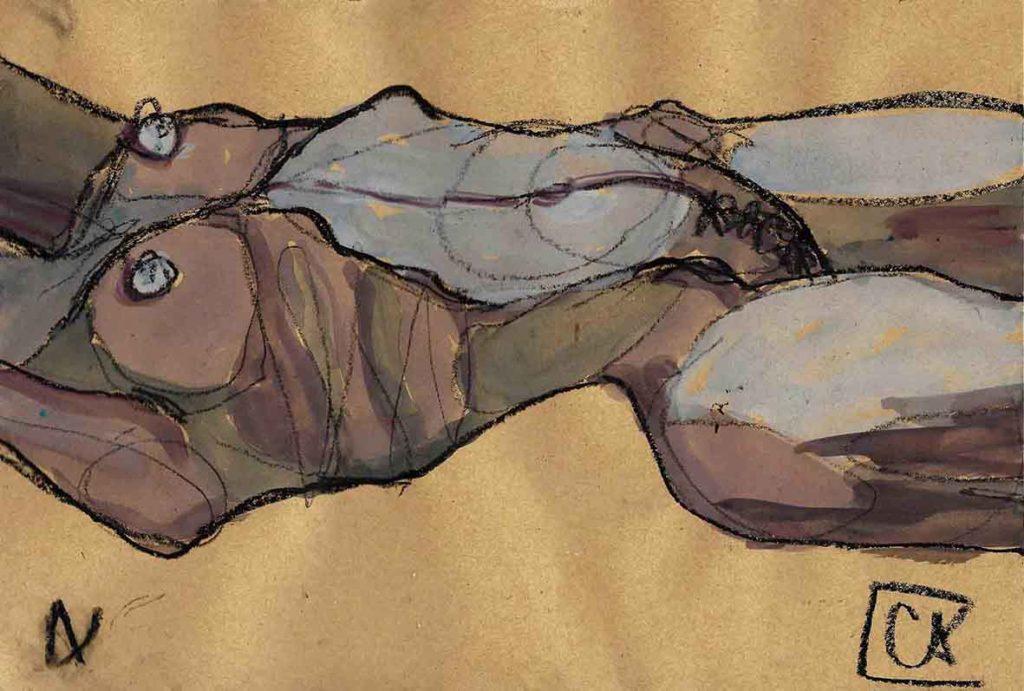 Nudo sdraiato -guache su carta 2017
