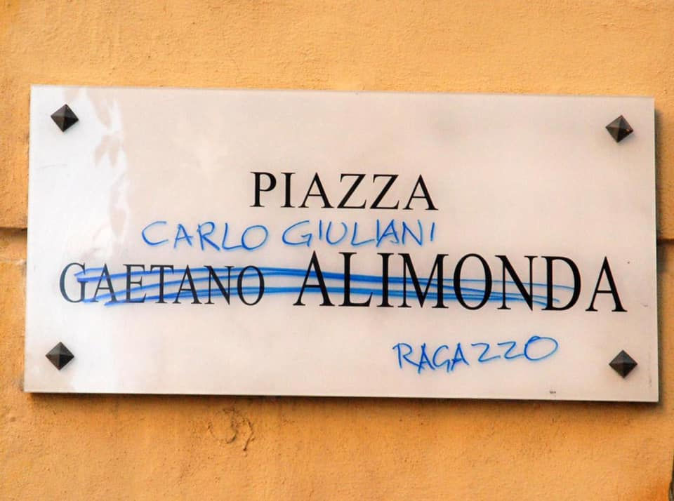 Genova Carlo Giuliani targa